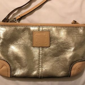 Silver nude coach clutch mini bag